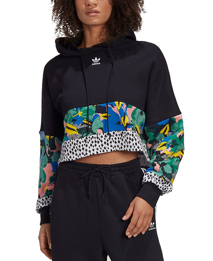adidas - Women's Printed Cropped Cotton Hoodie