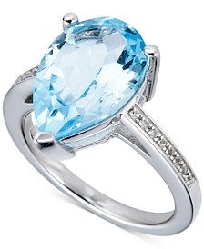 Blue Topaz (4-1/2 ct. t.w.) & White Topaz (1/10 ct. t.w.) Ring in Sterling Silver (Also in Pink Amethyst & Green Amethyst)