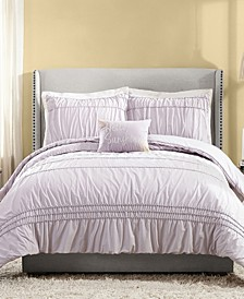 4 Piece Ruched Stripe Full/Queen Comforter Set