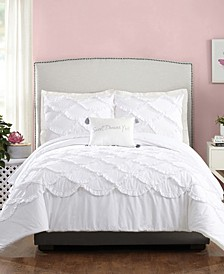 4 Piece Ruffled Scallop Full/Queen Comforter Set