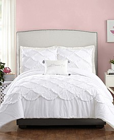 3 Piece Ruffled Scallop Twin/Twin XL Comforter Set