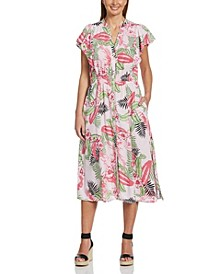 Bold Floral Print Flutter Sleeve Dress