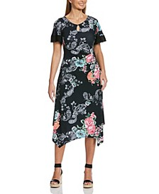 Paisley Floral Handkerchief Dress with Twist Waist and Keyhole Neckline