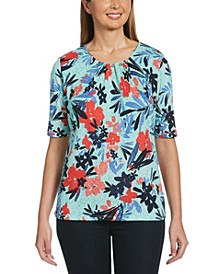 Windword Floral Print Elbow Sleeve Shirt with Beads