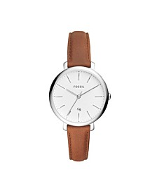 Jacqueline Three-Hand Date Brown Leather Watch 36mm