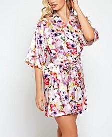 Ella Floral Print Satin Wrap Robe, Online Only