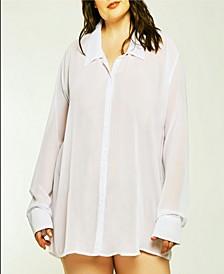 London Chiffon Button Down Boyfriend Sleep Shirt