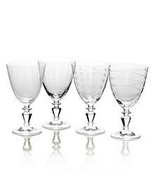 Cheers Vintage-like Goblet Wine Glasses, Set of 4
