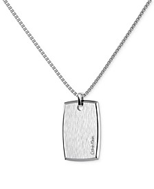 Straight Stainless Steel Polished and Brushed Rectangular Dog Tag Pendant Necklace