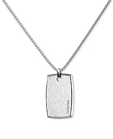 Calvin Klein straight Stainless Steel Polished and Brushed Rectangular Dog Tag Pendant Necklace KJ0QMP080100