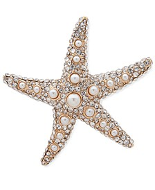 Gold-Tone Pavé & Imitation Pearl Starfish Pin