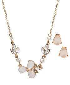 Gold-Tone Crystal & Imitation Pearl Cluster Statement Necklace & Studs Earrings Set