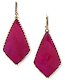 Gold-Tone Geometric Stone Drop Earrings