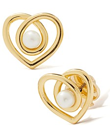 Gold-Tone Imitation Pearl Infinite Heart Stud Earrings