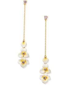 Gold-Tone Cubic Zirconia Flower Long Chain Drop Earrings
