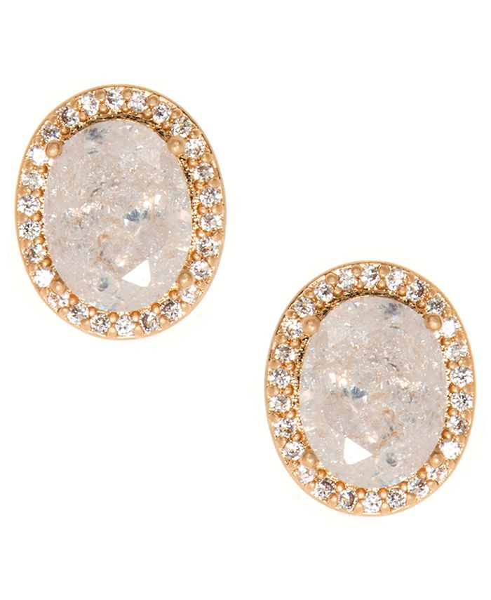 lonna & lilly - Gold-Tone Stone & Crystal Halo Stud Earrings