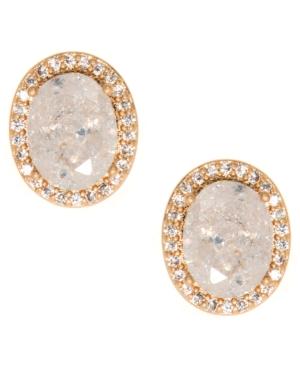 Gold-Tone Stone & Crystal Halo Stud Earrings