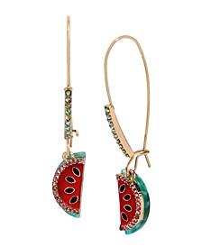 """Watermelon Long Drop Earrings in Gold-tone Metal, 2"""""""