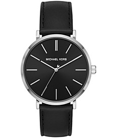 Men's Jayne Three-Hand Black Leather Watch 42mm MK7145