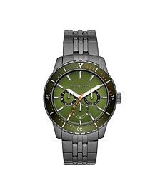 Men's Cunningham Multifunction Gunmetal Stainless Steel Bracelet Watch 44mm MK7158