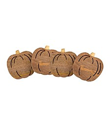 Pumpkin Wood Coasters, Set of 4
