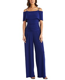 Embellished-Strap Cold-Shoulder Jumpsuit