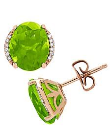 Peridot (3-3/4 ct. t.w.) & Diamond (1/20 ct. t.w.) Stud Earrings in 14k Gold
