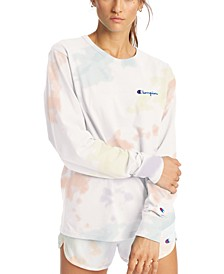 Cotton Tie-Dyed Long-Sleeve Boyfriend T-Shirt