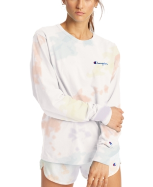 Champion COTTON TIE-DYED LONG-SLEEVE BOYFRIEND T-SHIRT