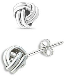 Double Love Knot Stud Earrings in Silver or 18k Gold Over Silver, Created for Macy's