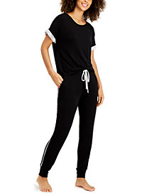 Alfani Ultra-Soft Contrast Trim Pajama Set, Created for Macy's