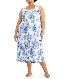 Plus Size Lace-Trim Knit Nightgown, Created for Macy's