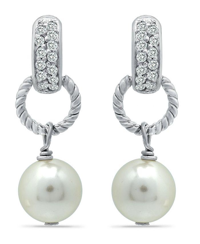Macy's - Imitation Pearl Pave Cubic Zirconia Doorknocker Drop Earrings Crafted in Fine Silver Plate