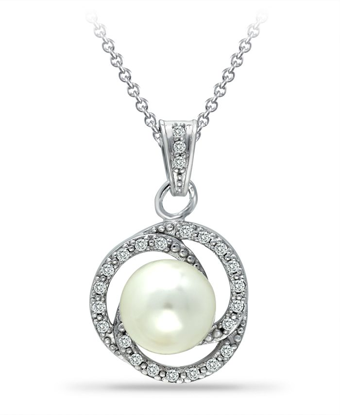 """Macy's - Imitation Pearl with Cubic Zirconia Crystal Swirl Halo Pendant in Fine Silver Plate 18"""""""