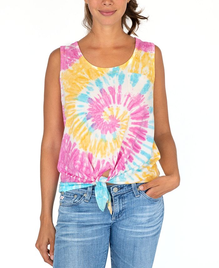 Rebellious One - Juniors' Tie-Dyed Tie-Front Tank Top
