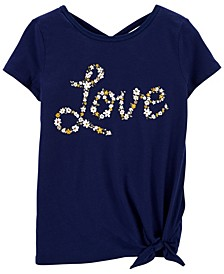 Little Girls Floral Love Tie-Front Jersey Tee