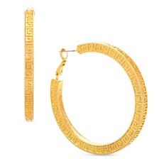 """Gold-Tone Medium Patterned Square Hoop Earrings, 1.37"""""""