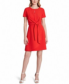 Tie-Front Sheath Dress