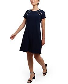 Grommet Fit & Flare Dress