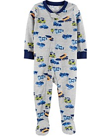 Baby Boy 1-Piece Trucks Poly Footie PJs