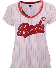 Women's Cincinnati Reds Pinstripe V-Neck T-Shirt