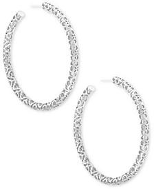 "Large Openwork Tubular Hoop Earrings, 2.5"""