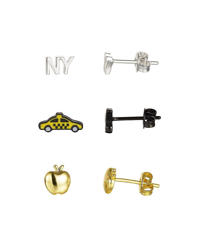 Unwritten - Fine Silver Plated Two-Tone New York City Earring Trio Set