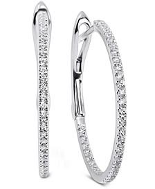 Swarovski Zirconia Small Hoop Earrings in 14k White Gold