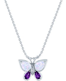 "Lab-Created Amethyst (1/5 ct. t.w.), Opal (7x5mm) & Diamond Accent Butterfly Pendant in Sterling Silver, 16"" + 2"" extender"
