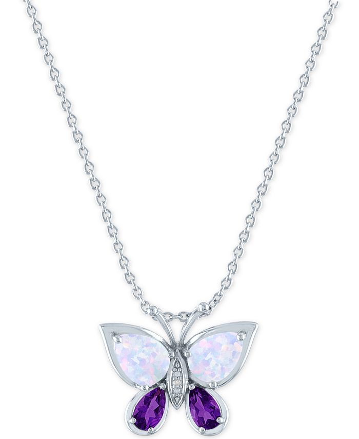 """Macy's - Lab-Created Amethyst (1/5 ct. t.w.), Opal (7x5mm) & Diamond Accent Butterfly Pendant in Sterling Silver, 16"""" + 2"""" extender"""