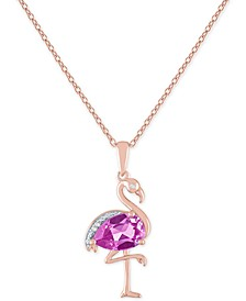 "Lab-Created Pink Sapphire (1-3/8 ct. t.w.) & Diamond Accent Flamingo Pendant Necklace in 14k Rose Gold-Plated Sterling Silver, 16"" + 2"" extender"