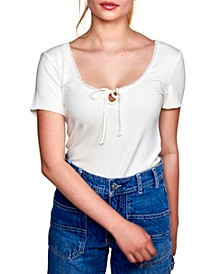 Juniors' Lace-Trim Keyhole Top