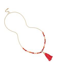Gold-Tone Metal Tassel Pendant Long Necklace