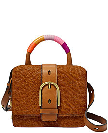 Fossil Wiley Top Handle Vintage-Like Leather Saddle Crossbody